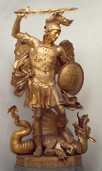 Statue of Archangel Michael at the University of Bonn, slaying Satan as a dragon; Quis ut Deus is inscribed on his shield