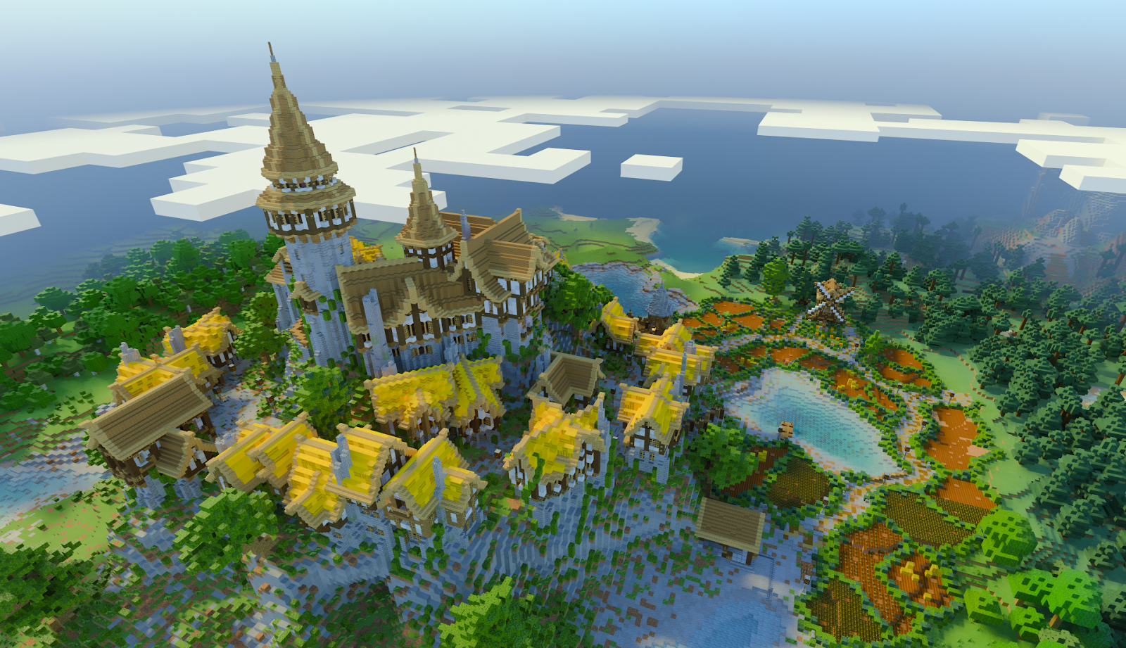 Players can make some astonishing creations in Minecraft. Depicted is a medieval castle on a mountain, surrounded by houses and farmland