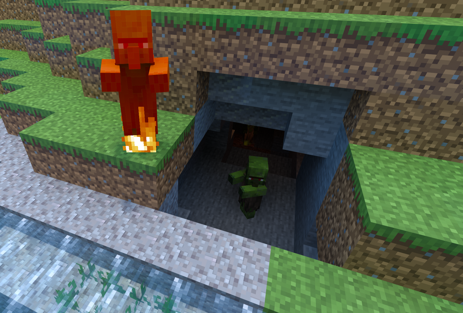 Two zombies, one inside a natural cave, the other one exposed to the sunlight and burning.