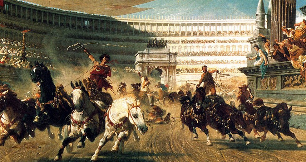 The chariot race and taming the horses